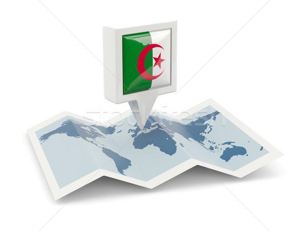 Praça pin bandeira Argélia mapa viajar Foto stock © MikhailMishchenko