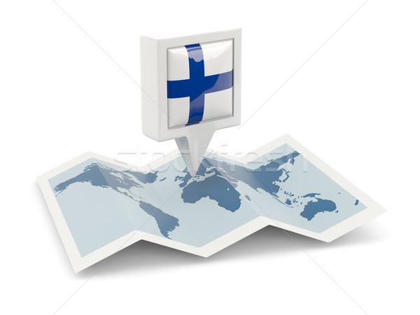 Tér tő zászló Finnország térkép utazás Stock fotó © MikhailMishchenko