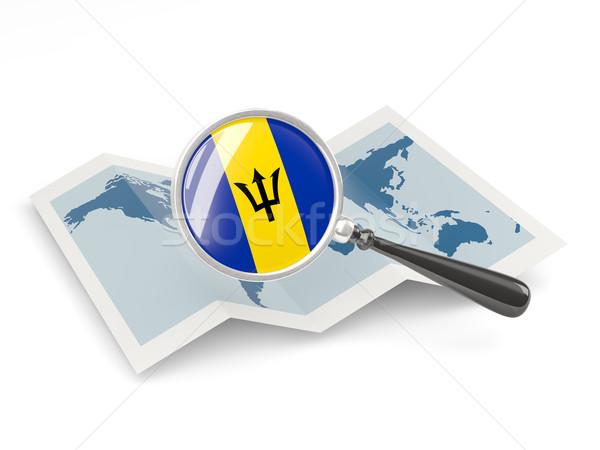 Bandeira Barbados mapa branco Foto stock © MikhailMishchenko