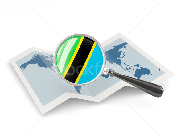 Magnified flag of tanzania with map Stock photo © MikhailMishchenko
