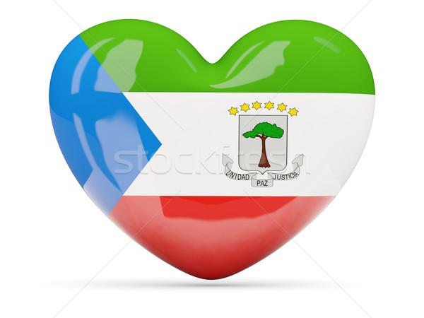 Coração ícone bandeira Guiné Equatorial isolado Foto stock © MikhailMishchenko