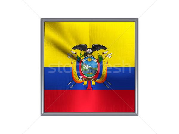 Tér fém gomb zászló Ecuador izolált Stock fotó © MikhailMishchenko
