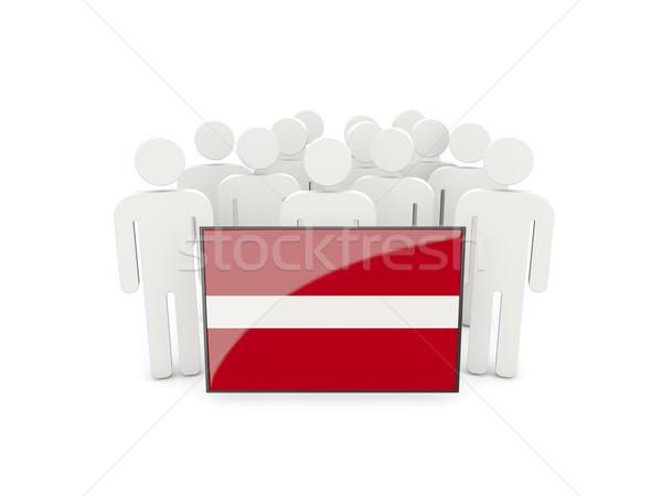 Mensen vlag Letland geïsoleerd witte menigte Stockfoto © MikhailMishchenko