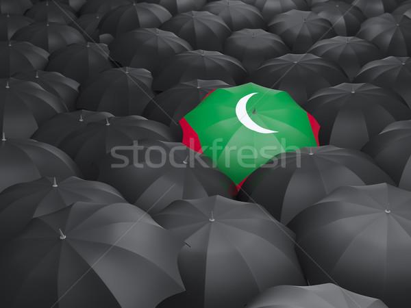 зонтик флаг Мальдивы черный дождь Сток-фото © MikhailMishchenko