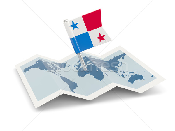 Harita bayrak Panama yalıtılmış beyaz Stok fotoğraf © MikhailMishchenko