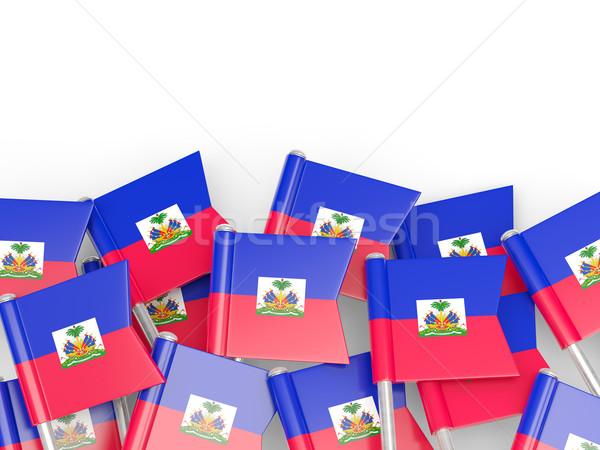 Vlag pin Haïti geïsoleerd witte wereld Stockfoto © MikhailMishchenko