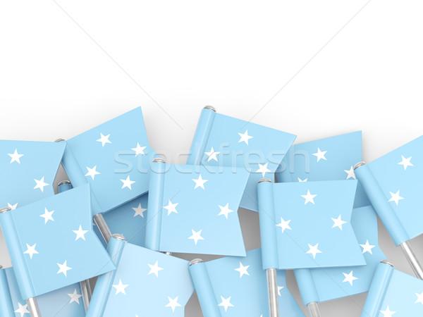 Bandeira pin Micronésia isolado branco fundo Foto stock © MikhailMishchenko
