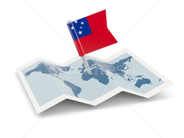 Kaart vlag Samoa geïsoleerd witte Stockfoto © MikhailMishchenko