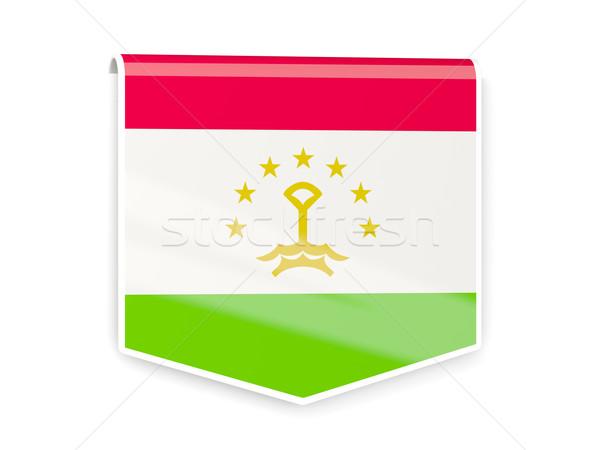 Zászló címke Tádzsikisztán izolált fehér felirat Stock fotó © MikhailMishchenko