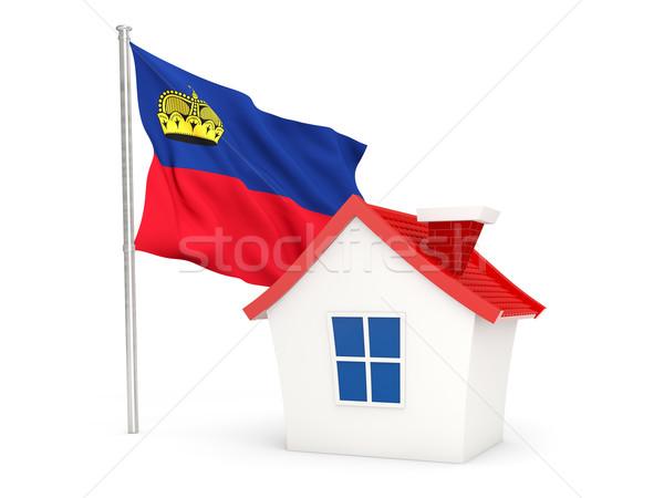 Casa bandiera Liechtenstein isolato bianco home Foto d'archivio © MikhailMishchenko