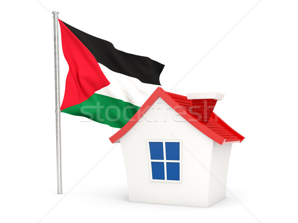 Stock photo: House with flag of palestinian territory