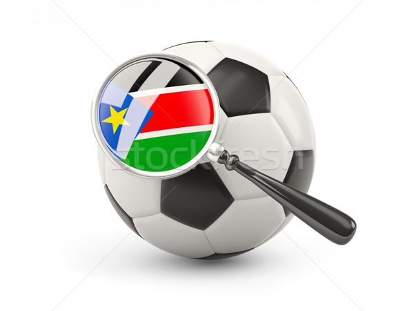 Futball nagyított zászló dél Szudán izolált Stock fotó © MikhailMishchenko