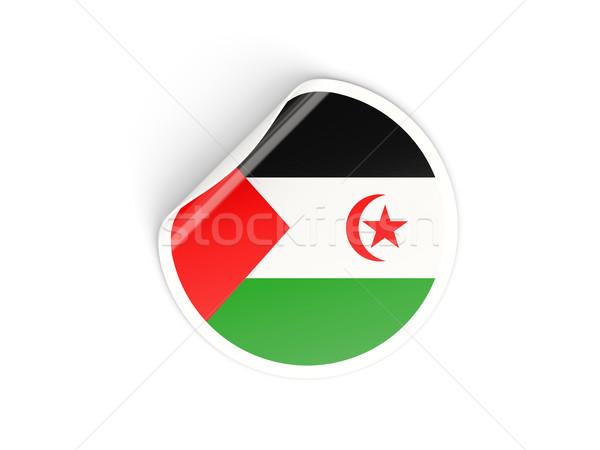 Round sticker with flag of western sahara Stock photo © MikhailMishchenko