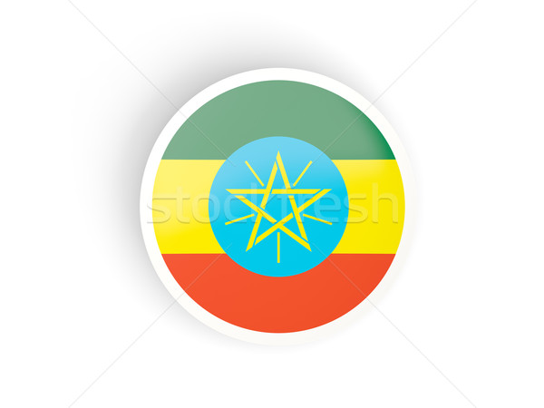 Round sticker with flag of ethiopia Stock photo © MikhailMishchenko