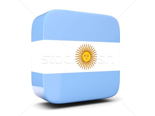 квадратный икона флаг Аргентина 3d иллюстрации изолированный Сток-фото © MikhailMishchenko