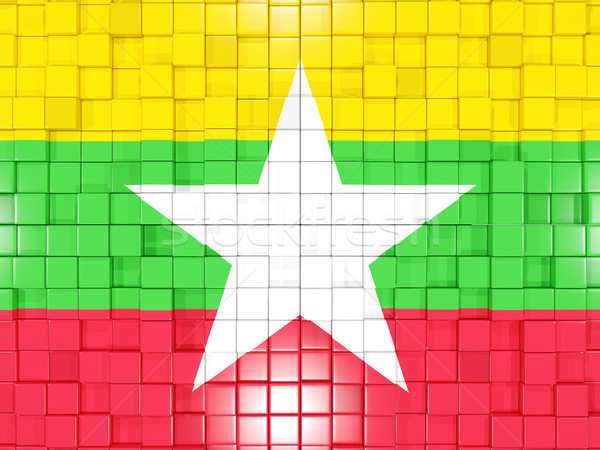Background with square parts. Flag of myanmar. 3D illustration Stock photo © MikhailMishchenko
