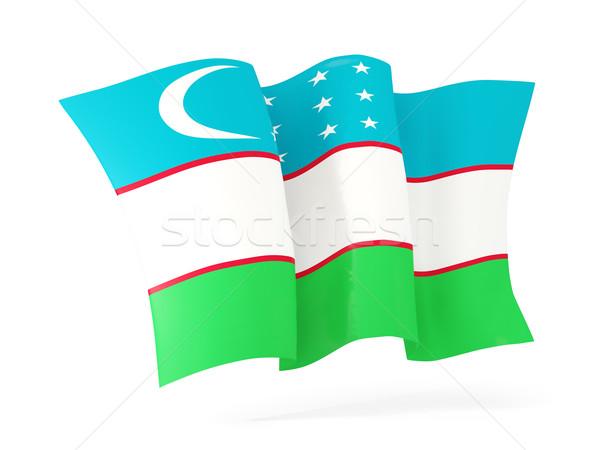 Integet zászló Üzbegisztán 3d illusztráció izolált fehér Stock fotó © MikhailMishchenko
