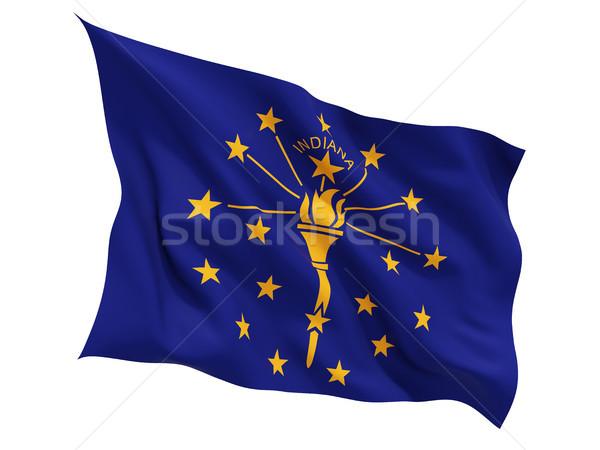 Bandeira isolado branco ilustração 3d vento Foto stock © MikhailMishchenko