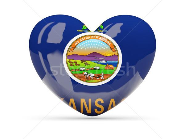Flag of kansas, US state heart icon Stock photo © MikhailMishchenko