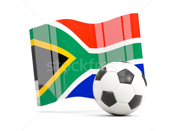 Football with waving flag of south africa isolated on white Stock photo © MikhailMishchenko