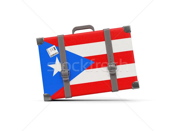 Bagage vlag Puerto Rico koffer geïsoleerd witte Stockfoto © MikhailMishchenko