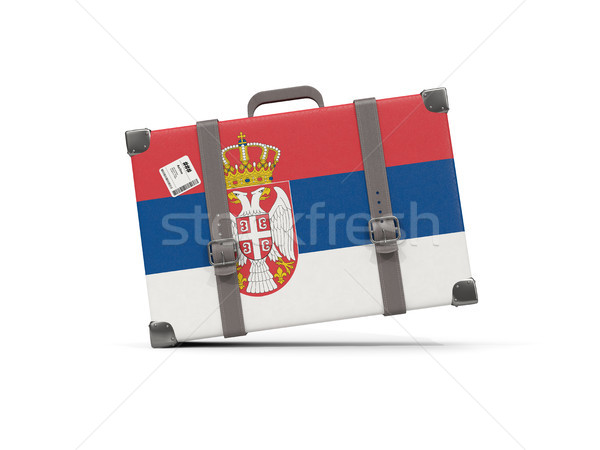 Luggage with flag of serbia. Suitcase isolated on white Stock photo © MikhailMishchenko