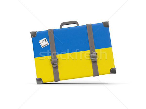 Luggage with flag of ukraine. Suitcase isolated on white Stock photo © MikhailMishchenko