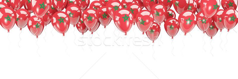 Balões quadro bandeira Marrocos isolado branco Foto stock © MikhailMishchenko