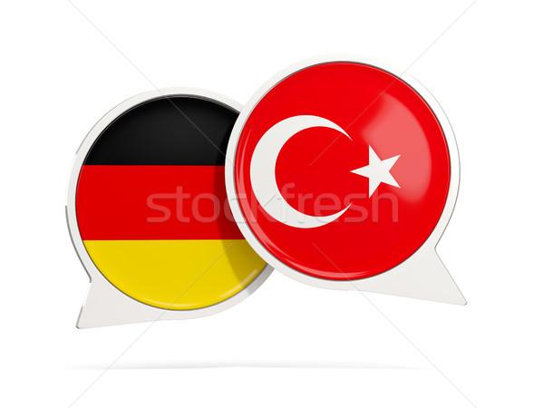 Chat buborékok Németország Törökország izolált fehér Stock fotó © MikhailMishchenko