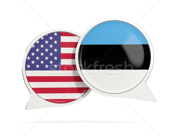 Chat bubbels USA Estland geïsoleerd witte Stockfoto © MikhailMishchenko