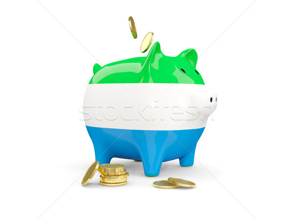 Fat piggy bank with fag of sierra leone Stock photo © MikhailMishchenko