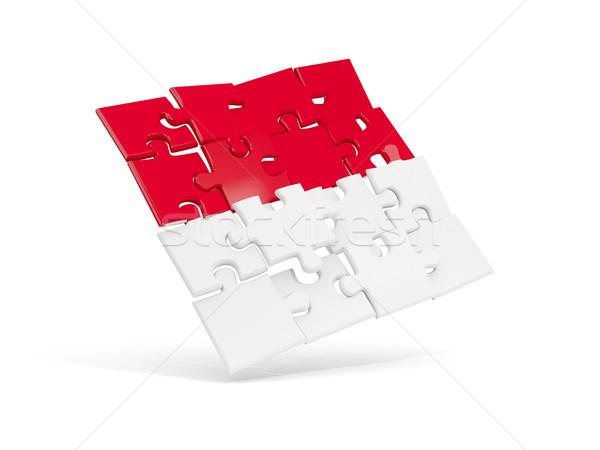 パズル フラグ インドネシア 孤立した 白 3次元の図 ストックフォト © MikhailMishchenko