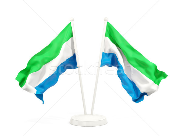 Two waving flags of sierra leone Stock photo © MikhailMishchenko