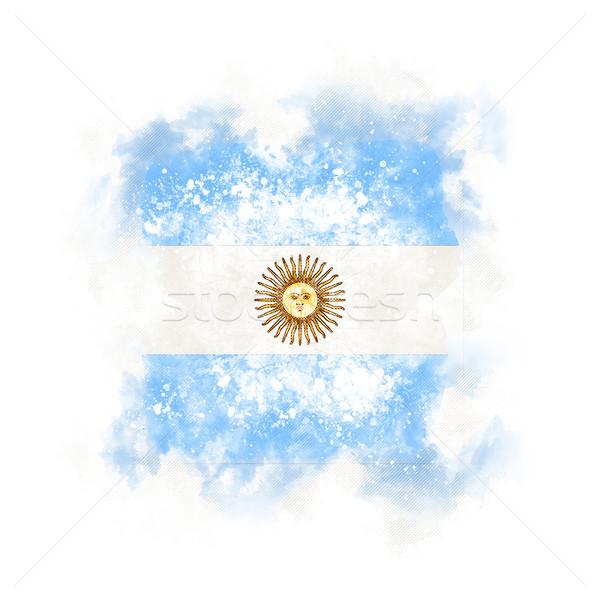 Vierkante grunge vlag Argentinië 3d illustration retro Stockfoto © MikhailMishchenko