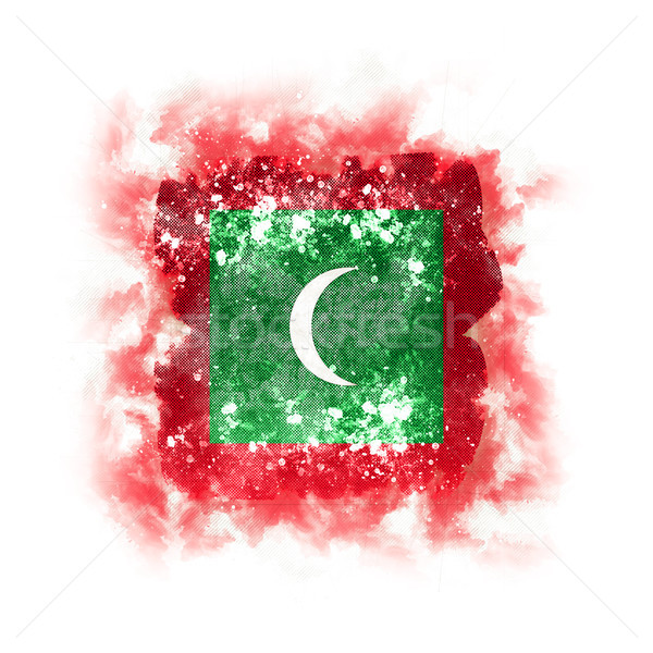 квадратный Гранж флаг Мальдивы 3d иллюстрации ретро Сток-фото © MikhailMishchenko