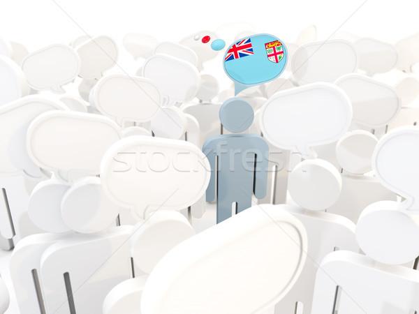 Man vlag Fiji menigte 3d illustration witte Stockfoto © MikhailMishchenko