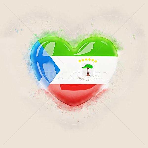 Coração bandeira Guiné Equatorial grunge ilustração 3d viajar Foto stock © MikhailMishchenko