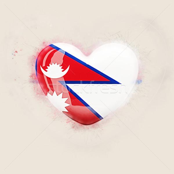 Corazón bandera Nepal grunge 3d viaje Foto stock © MikhailMishchenko