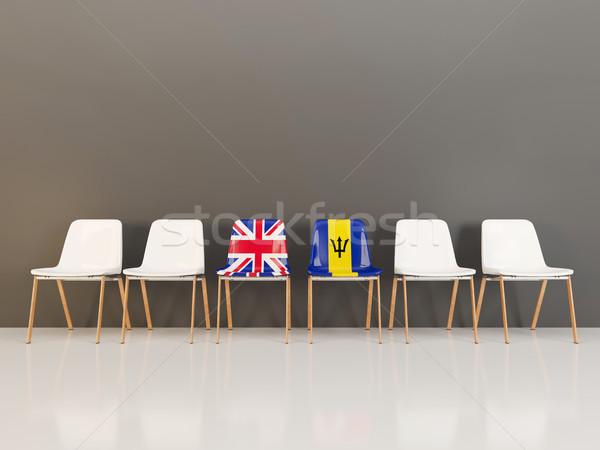 Stühle Flagge Vereinigtes Königreich Barbados Zeile 3D-Darstellung Stock foto © MikhailMishchenko