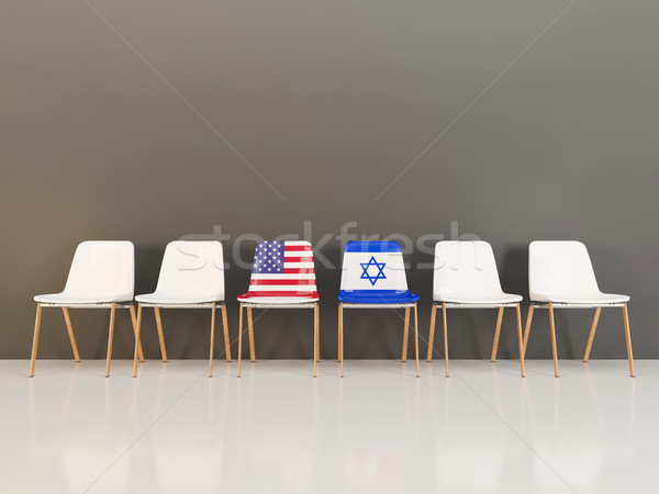 Cadeiras bandeira EUA Israel ilustração 3d Foto stock © MikhailMishchenko