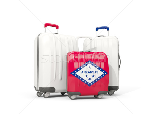 Luggage with flag of arkansas. Three bags with united states loc Stock photo © MikhailMishchenko