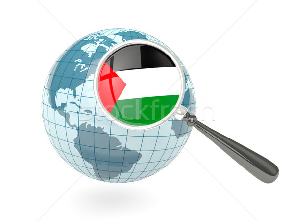 Magnified flag of palestinian territory with blue globe Stock photo © MikhailMishchenko