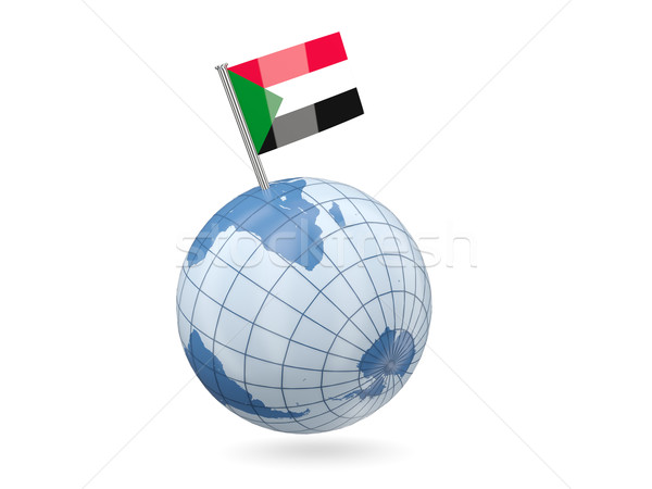 Földgömb zászló Szudán kék izolált fehér Stock fotó © MikhailMishchenko