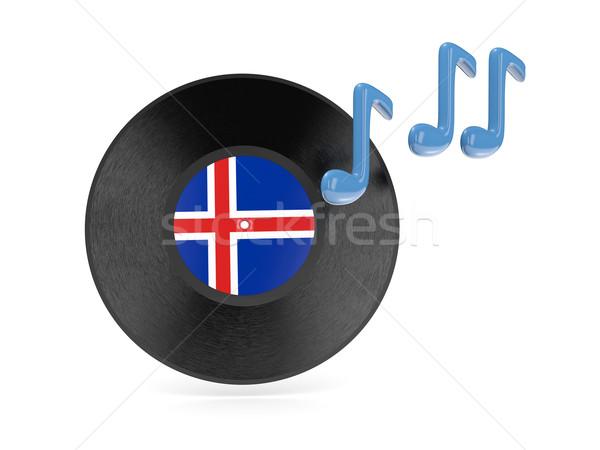 Stockfoto: Vinyl · schijf · vlag · IJsland · geïsoleerd · witte