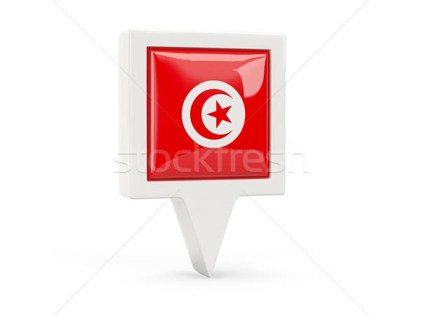 Carré pavillon icône Tunisie isolé blanche Photo stock © MikhailMishchenko