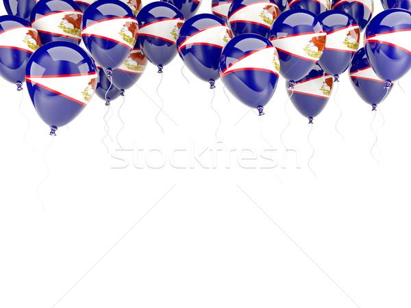 Balão quadro bandeira Samoa Americana isolado branco Foto stock © MikhailMishchenko