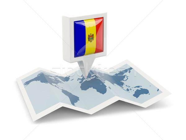 Tér tő zászló Moldova térkép utazás Stock fotó © MikhailMishchenko