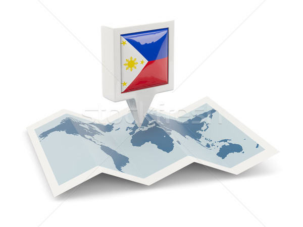 Square pin with flag of philippines on the map Stock photo © MikhailMishchenko