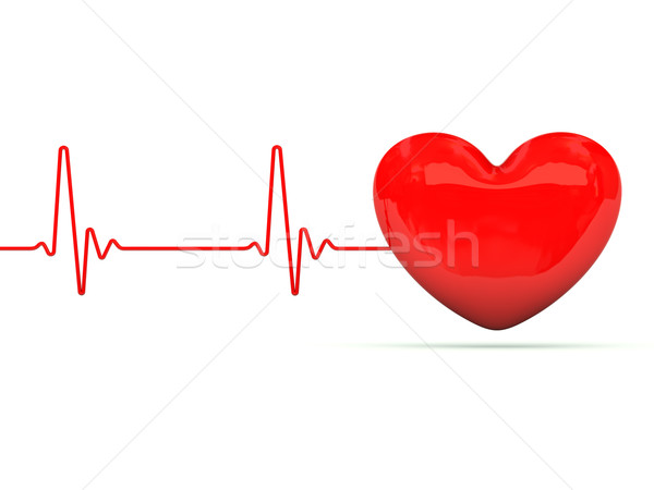 Stock photo: Heart with heartbeat