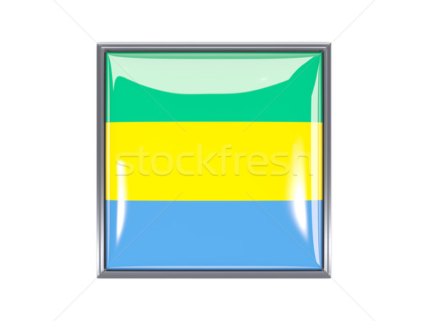 квадратный икона флаг Габон металл кадр Сток-фото © MikhailMishchenko